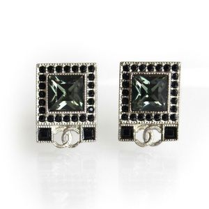 Authentic Chanel Square Crystals CC Earrings